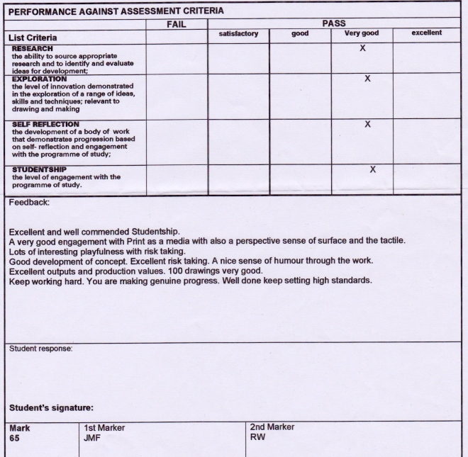 assessment sheet